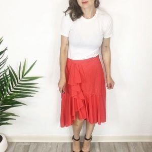 NWT JOIE ruffles midi skirt asymmetrical hem 0443